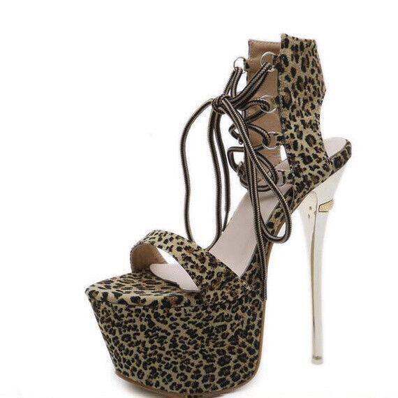 Sandali stiletto eleganti 17 cm animalier simil pelle simil pelle eleganti 9493