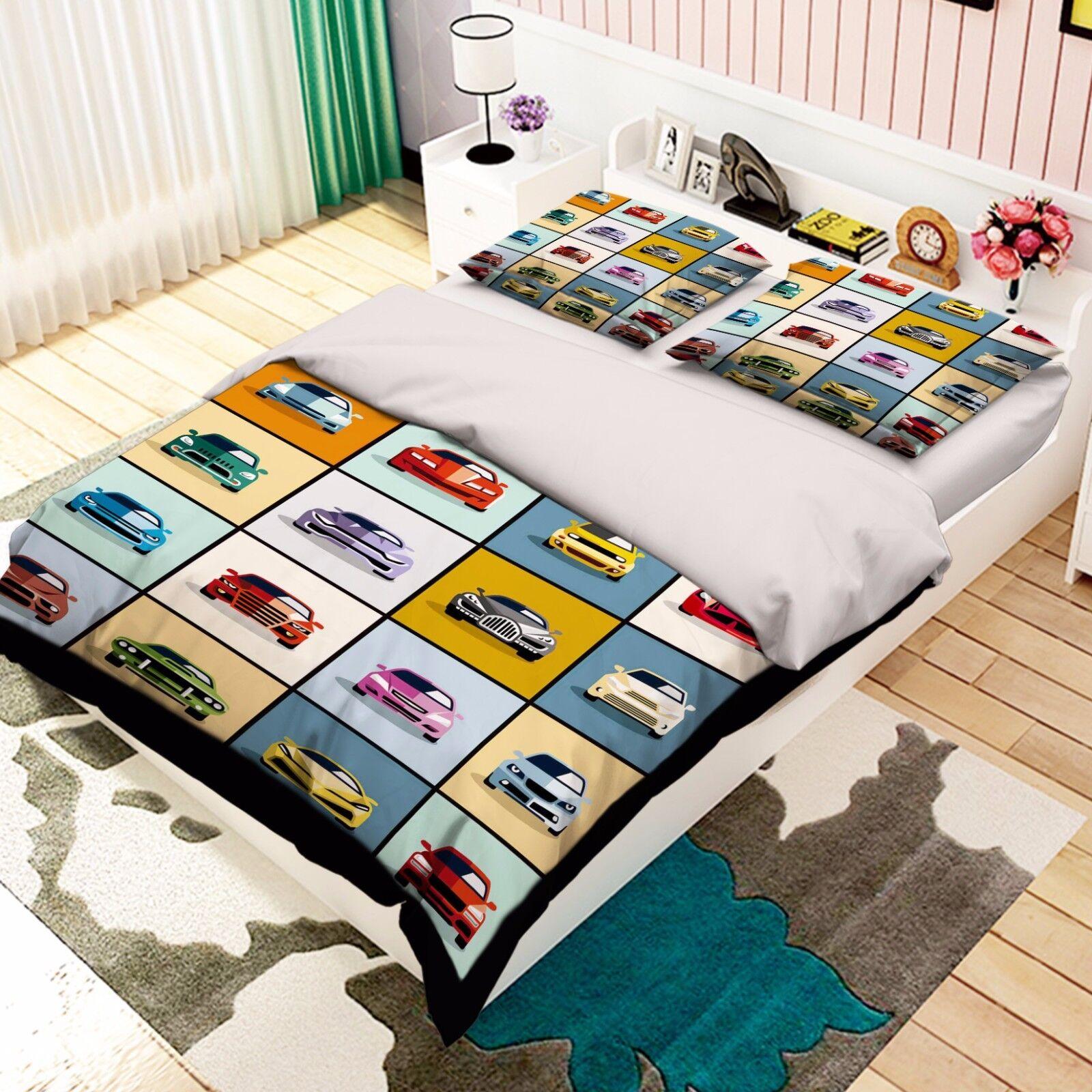 3D Limousine 917 Bett Kissenbezüge steppen Duvet Decken Set Single DE Kyra