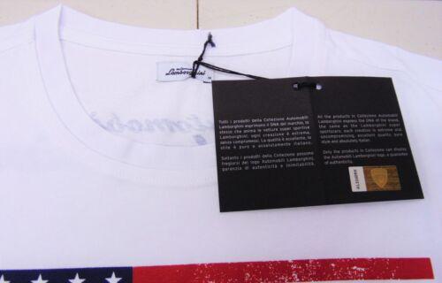 LAMBORGHINI WHITE OPTIC USA REAL POWER RACING T-SHIRT OEM # 9011122CCW017