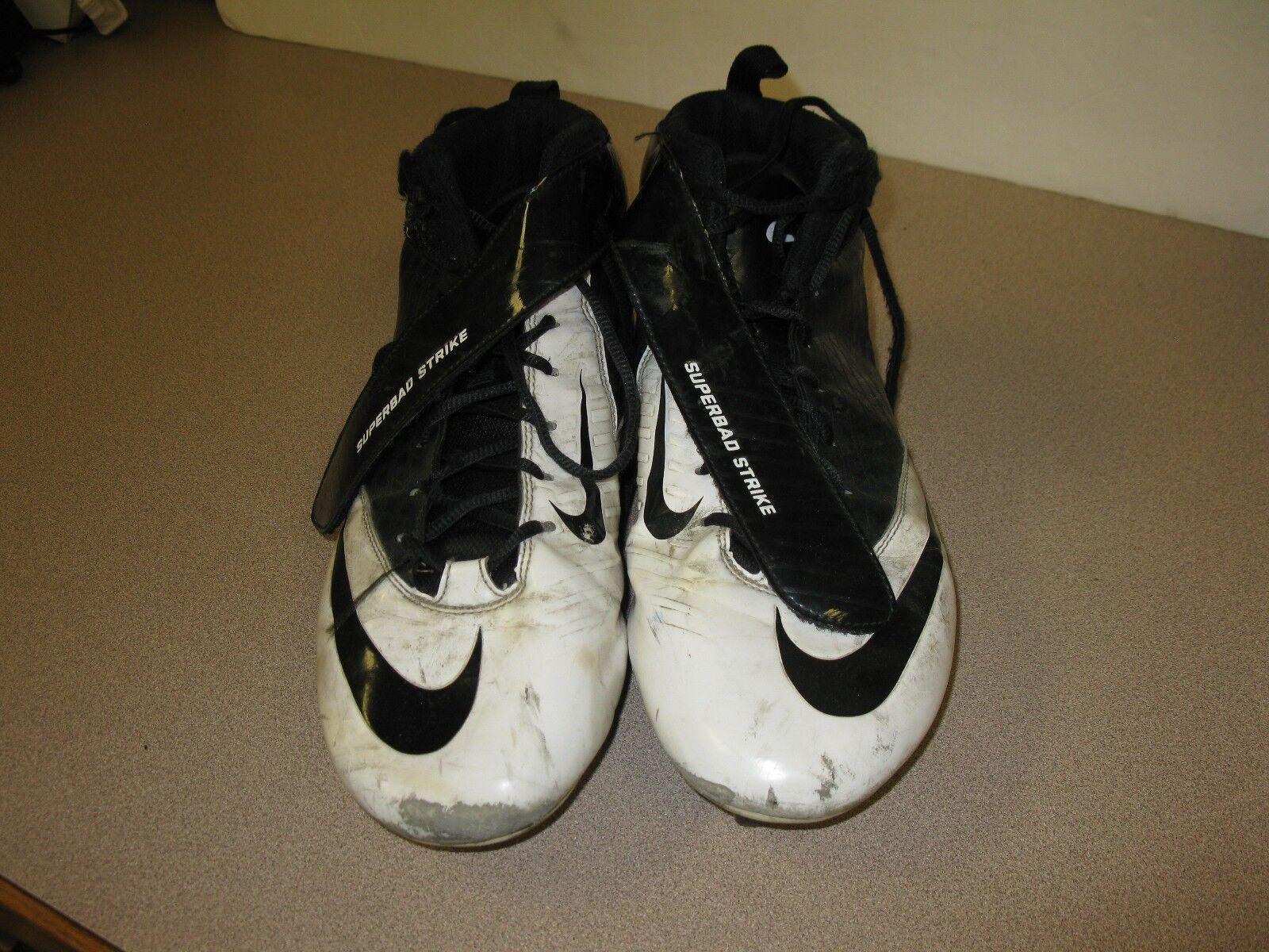 6540798e36a Nike Super Bad Strike Strike Strike D Football Cleats Size 11.5 White Black  Leather Shoes e60347