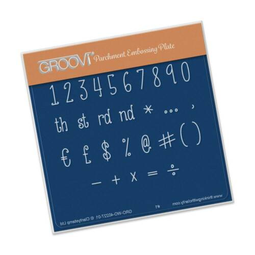 CLARITY STAMP GROOVI BABY A6 Parchment Embossing Plate NUMBERS /& SYMBOLS 40227