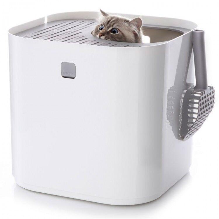 Modern Cat Litter Box Kitten Toilet Covered Loo Hooded Deep Scoop Lid Roof White