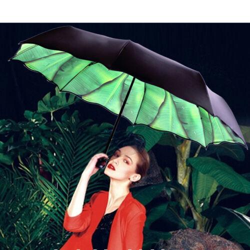 Fashion Green Leaves Umbrellas Vinyl Anti UV Parasol Women/'s Folding Umbrella