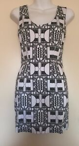 MAURIE-amp-EVE-Womens-Black-White-Stretchy-Short-Dress-Cut-Out-Back-Detail-Size-6