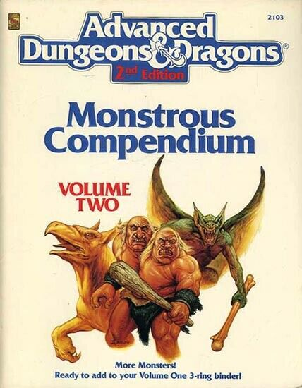 Lost treasures of the ad&d 2nd edition monstrous compendium.