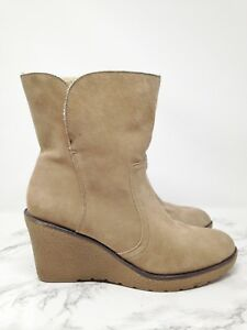 d402372674c Kelly & Katie EDNA Beige Suede Shearling Lined Crepe Wedge Ankle ...