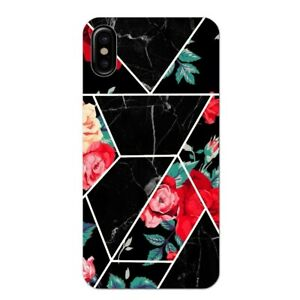 Coque Iphone XS MAX marbre noir et fleur rouge