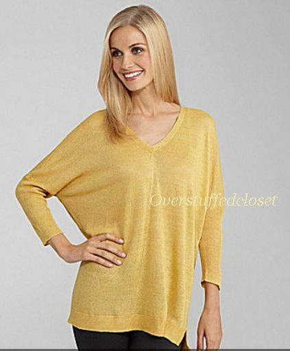NWT  EILEEN FISHER Linen Delave Jersey V NEck Long Box Top Dandelion MEDIUM