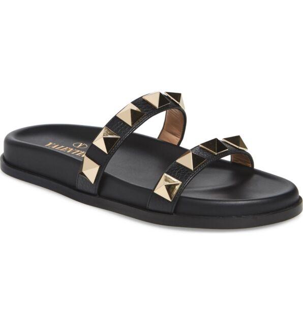 d1dc77a81ce1 NIB Valentino Rockstud LOCK Slide Flat Sandal Black Leather Sz 36 - 6