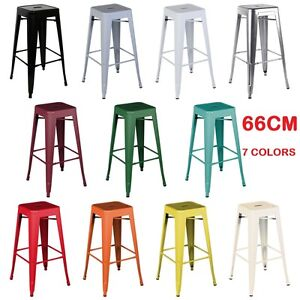 4x 66cm Replica Tolix Xavier Bar Stools Metal Steel Kitchen Home