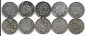 1834-1892-Silver-Sixpence-Coins-x-10-Different-Victoria-William-IV