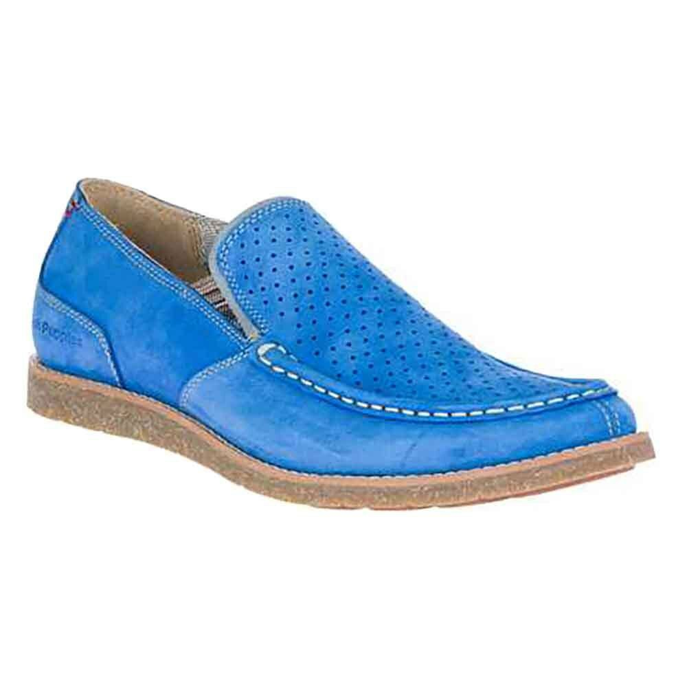 Neu Herren Hush Puppies Lorens Hofnarr Slipper Azurblau Blau Nubuk - Größe