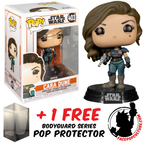 FUNKO POP VINYL STAR WARS THE MANDALORIAN CARA DUNE BLASTER #403 POP PROTECTOR
