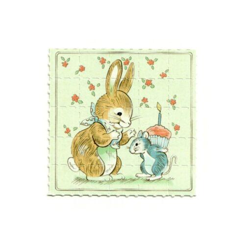 Bunny Cute Rarity Blotter Art Very Rare Unikat Print Pappemagnet 5x5cm