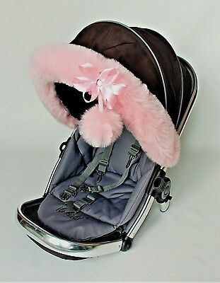 Pram Fur Hood Trim Attachment for Pushchair Compatible with My Babiie Pink