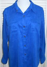 CHICO'S SHIRT size 3/14/16 Royal Blue SNAPS Suede Cloth Long Sleeve Womens