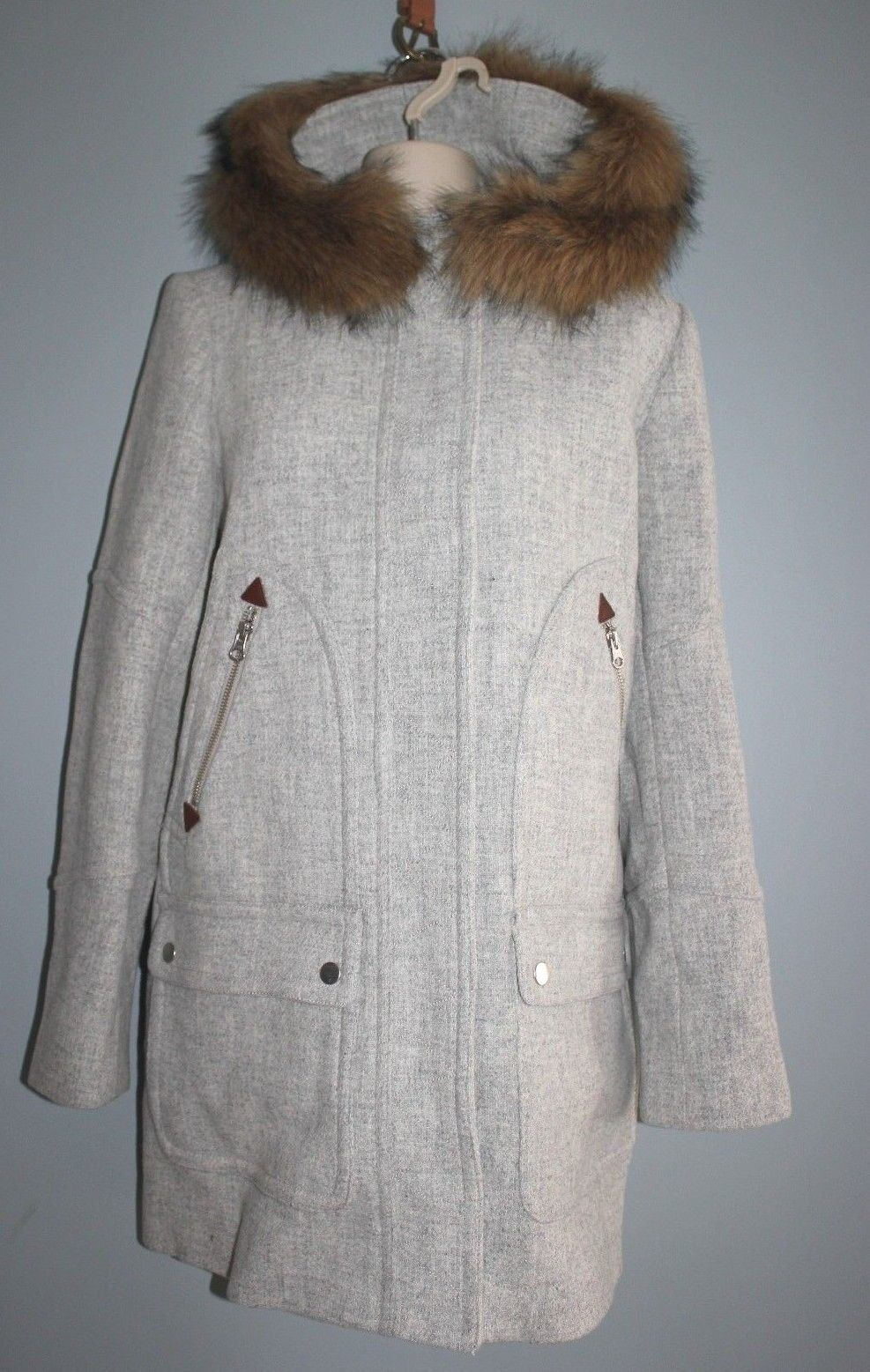JCrew Petite Chateau Parka Italian Stadium Cloth Wool Coat Sz 2P HEATHER DUSK