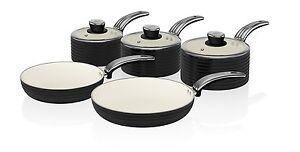 Swan-cuisson-retro-noir-Lot-de-5-anti-adhesif-sauce-et-poele-SET-TOUT-Plaque