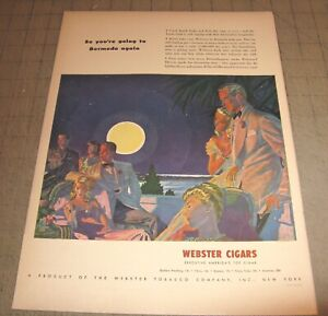 """1946 WEBSTER CIGARS 10.5"""" x 14"""" Life Magazine 1-Page Ad - Webster Tobacco Co NY"""