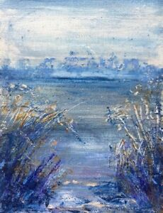Original-Oil-amp-Silver-PaintingL-Early-Morning-Winter-Canvas-6x8