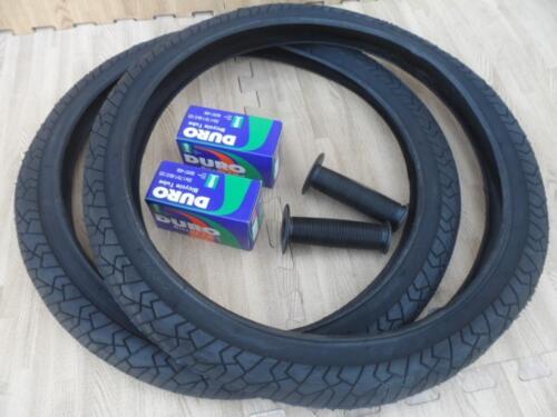 "New PAIR of 20/"" BMX Bicycle Slick BLACK Street Tires /& Tubes 20X1.95 *FREE GRIPS"