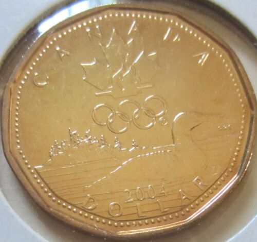 UNC. 2004 Canada Lucky Loonie One Dollar Coin.