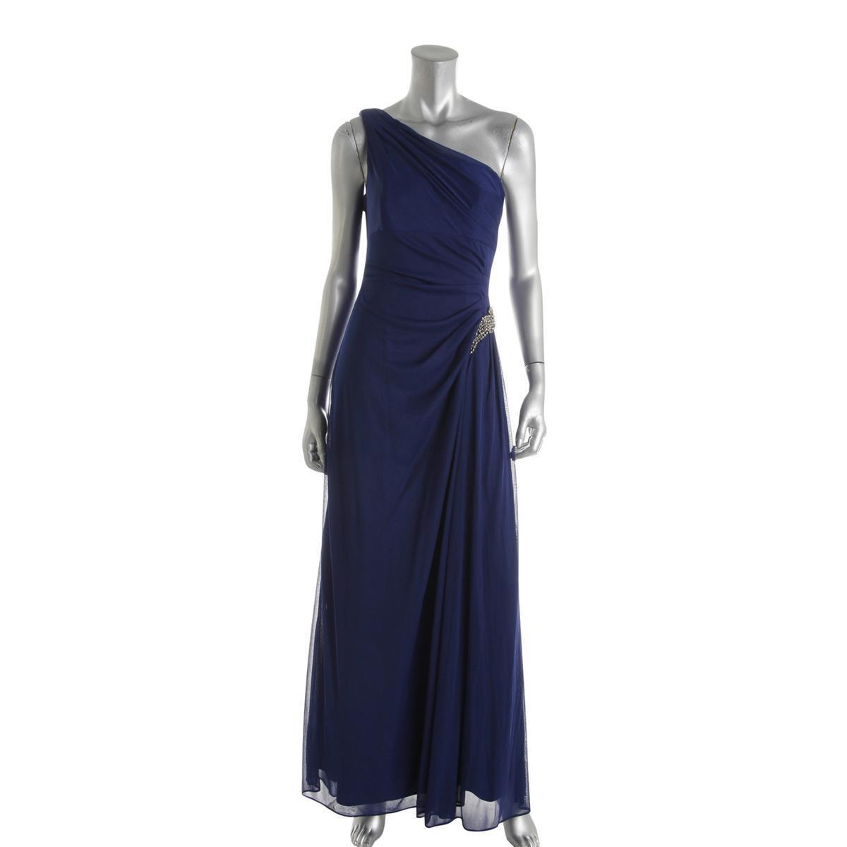 Alex Evenings Blau damen Embellished One Shoulder Formal Dress    10