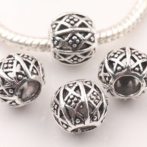10Pcs/20Pcs Tibetan Silver Carved Hollow Loose Spacer Beads DIY Round Shape 10mm