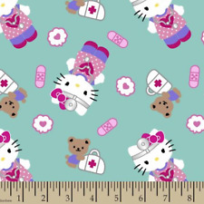 Hello Kitty First-aid print Turquoise 100% cotton quilting Fabric by the yard