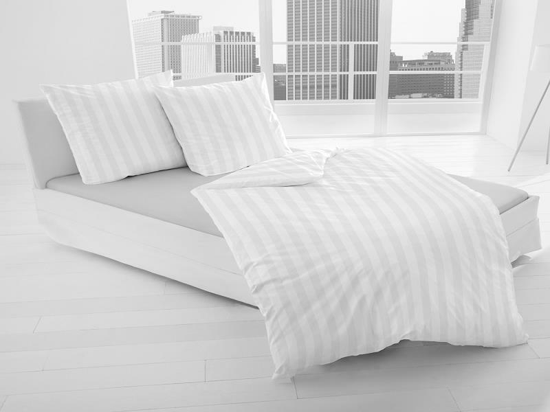 Schloß Holte Mako Satin Damast Bettwäsche 2 tlg 155x220cm 80x80cm weiß Streifen