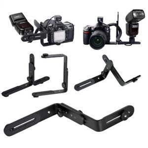 Dual-L-Shape-Camera-Flash-Bracket-Holder-Mount-Speedlite-Flash-DSLR-Camera-Metal