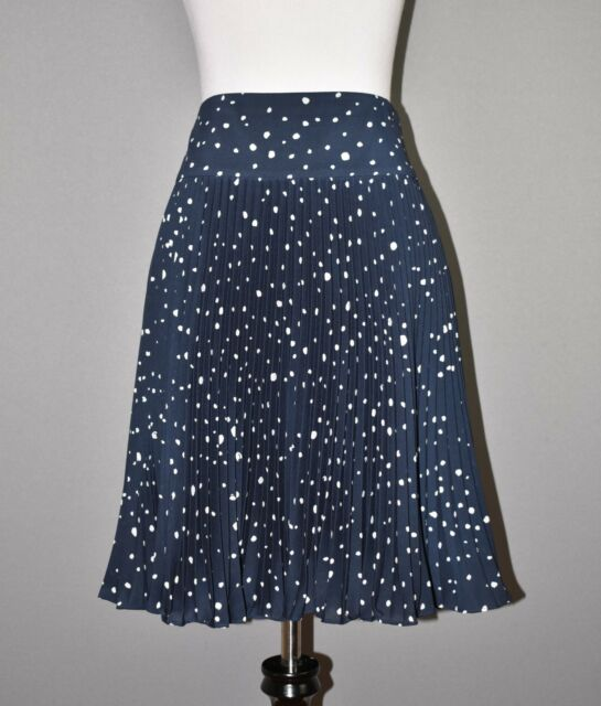 ANN TAYLOR $98 Blue Polka Dot Knee Length Accordion Skirt Size 8