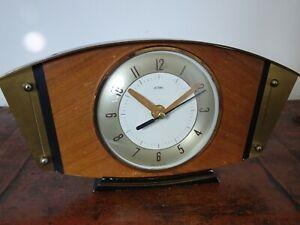 Vintage Mid Century Metamec Oak & Brass Panel Mantel Clock with Quartz Mechanism