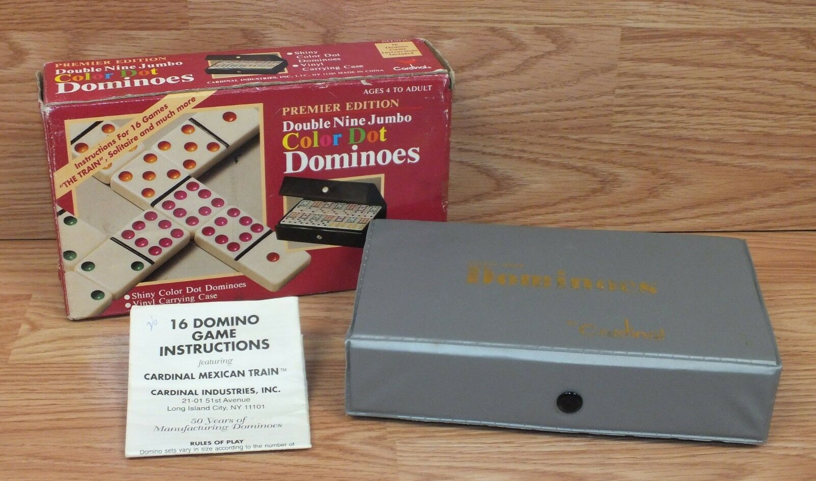 Cardinal Premier Edition Double 9 Jumbo Colored Dominoes 511c Vinyl
