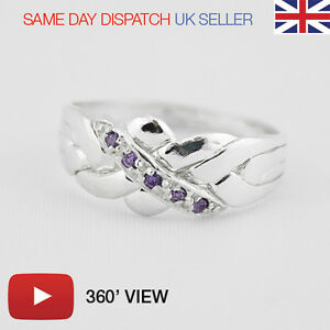 Puzzle-Ring-4-Bands-Sterling-Silver-925-Amethyst-Gems-PLAY-360-039-VIDEO