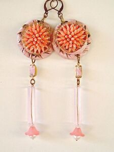 Spikey-pink-Recycled-Vintage-Earring-Danglers-vintage-recycle-unique-handmade