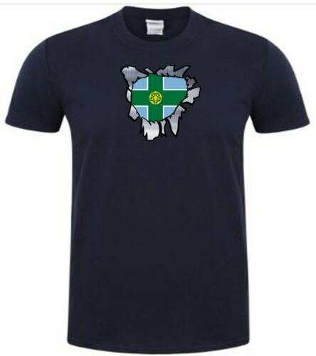 Derbyshire T Shirt ferro su BADGE o adesivi