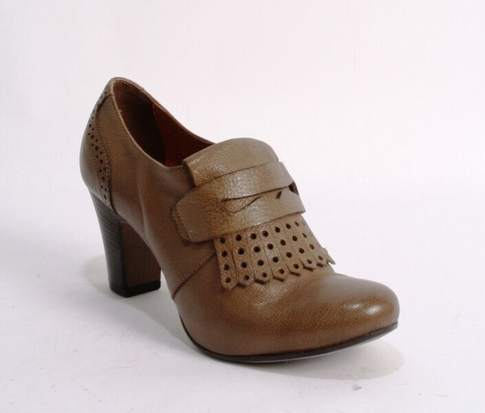 Donna Piu 8346a Brown Pelle Tooled / Fringe Trim Penny Loafers 39 /   9