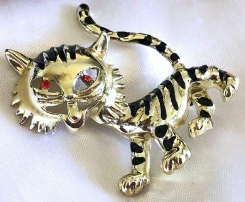 Vintage Beautiful Tiger Animal Design PinBrooch 925 Sterling BB 1418