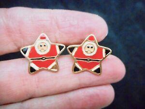 Authentic-Vintage-Gold-Tone-SANTA-Claus-Xmas-Triangle-Pierced-Earrings