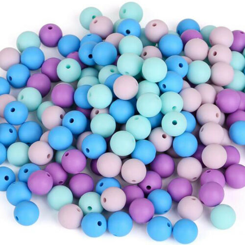 Chewable Round Silicone Teething Beads DIY Nursing Mom Jewelry Baby Sensory Toy