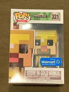 Minecraft-Steve-in-Gold-Armor-Walmart-Exclusive-Pop-Games-Hero-321-Funko-NEW