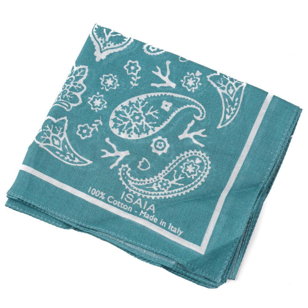 New ISAIA Teal Bandana Print Lightweight Cotton Handkerchief / Pocket Square