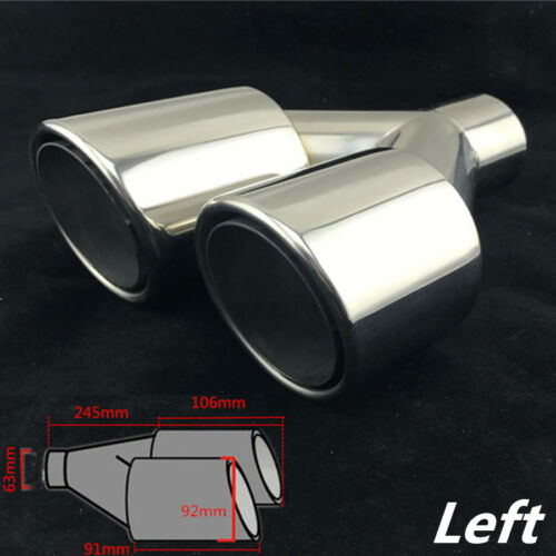 """Chrome Dual Exhaust Tip 2.5/"""" Inlet Car Stainless Steel Tail Muffler Pipe Left 1x"""