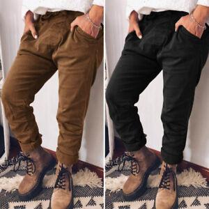 Mode-Femme-Pantalon-Loisir-Couleur-Unie-Poche-Casual-en-vrac-Confortable-Plus