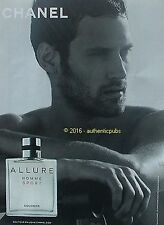 PUBLICITE CHANEL ALLURE HOMME SPORT EAU DE COLOGNE HUGO PARISI DE 2016 FRENCH AD