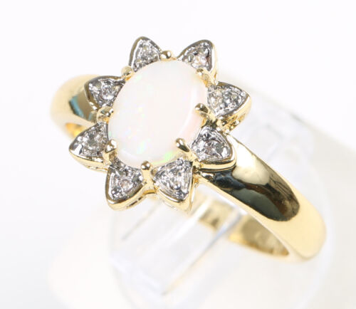 V Vintage 1960s Gold Plated Two Toned Genuine Opal Ring Size N