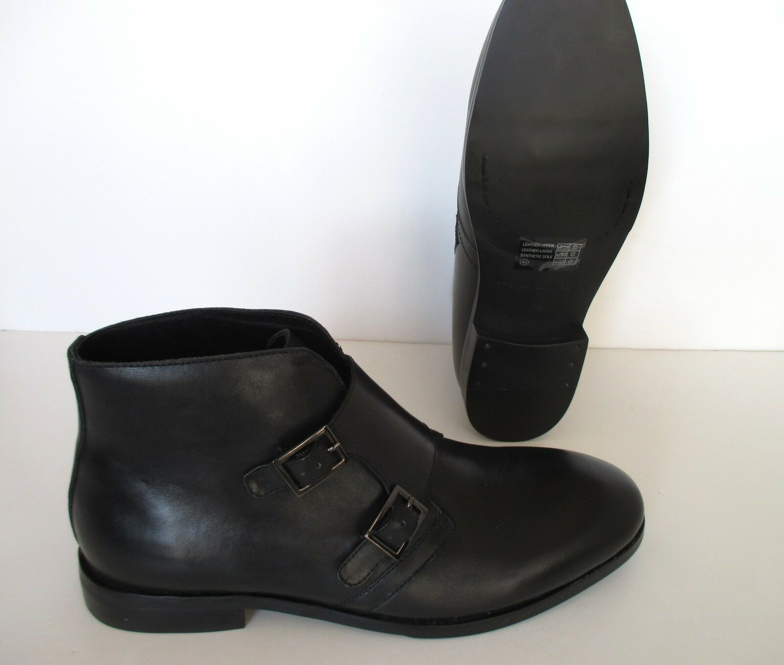 FRENCH CONNECTION Herren BLACK LEATHER Stiefel - IN Schuhe NEW IN - BOX SIZE 42 55e7f4