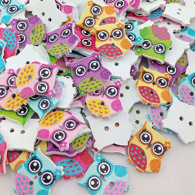 100Pcs Colorful Print Owl Tower Wood Buttons Clothing Sewing Tool Accessories