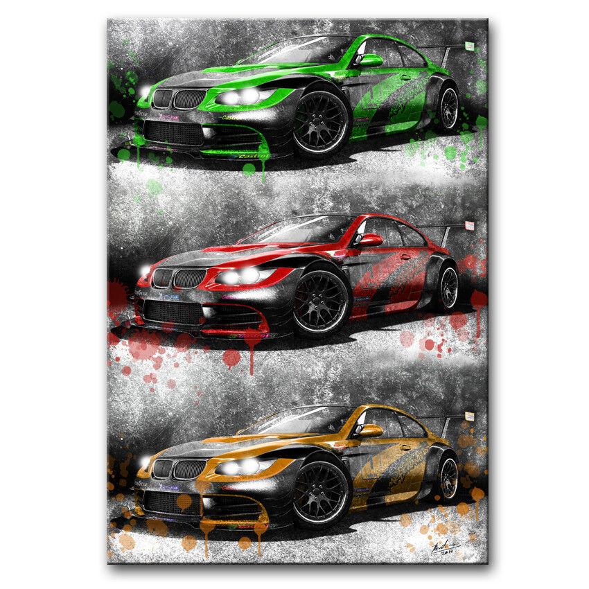 BMW m3 gt2 S Voiture fresque Voiture de sport Bolide Image sur toile la fresque Voiture XXL 1185 a 660e3b